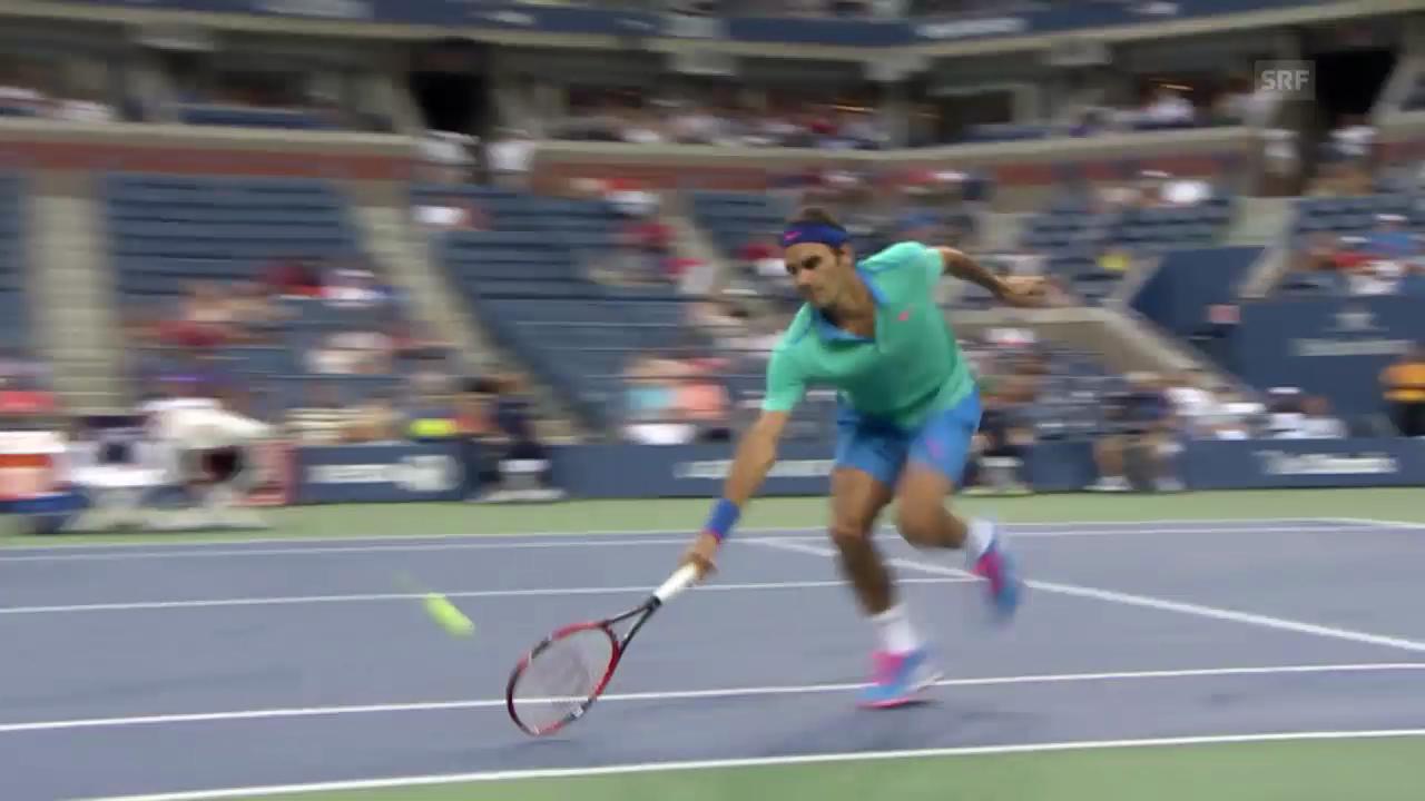 Tennis: Federers Geschwindigkeit an den US Open 2014
