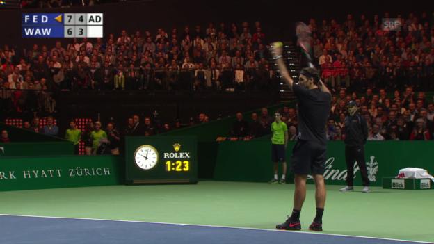 Video «Tennis: MfA, Federer animiert Zuschauer» abspielen