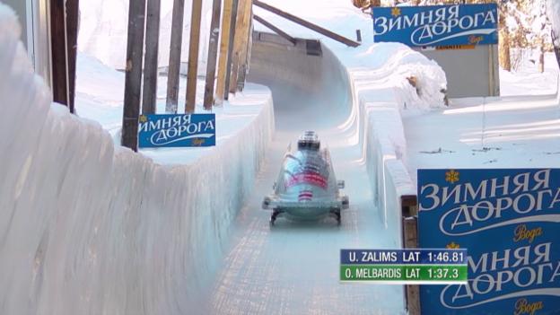 Video «Bob: Weltcup in St. Moritz, Zweiter, Oskars Melbardis im 2. Lauf» abspielen