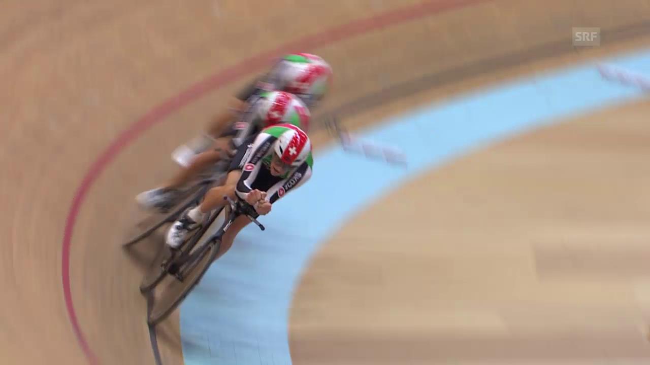Rad: Bahn-EM, Mannschaftsverfolgung, Halbfinal Schweiz - Frankreich