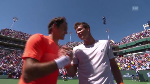 Video «Tennis: ATP 1000 in Indian Wells, Federer - Berdych: Satz und Matchbälle» abspielen