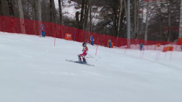 Video «Ski: Kombi-Slalom Frauen, Fahrt Lara Gut (sotschi direkt, 10.2.2014)» abspielen
