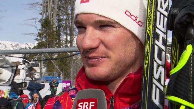 Video «Langlauf: 50 km Skating Männer, Interview mit Dario Cologna (sotschi direkt, 23.2.2014)» abspielen