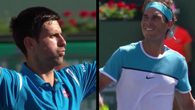 Video «Rafael Nadal fordert im Halbfinal von Indian Wells Novak Djokovic» abspielen