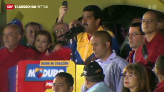 Video «Sozialist Maduro hat Wahl gewonnen» abspielen