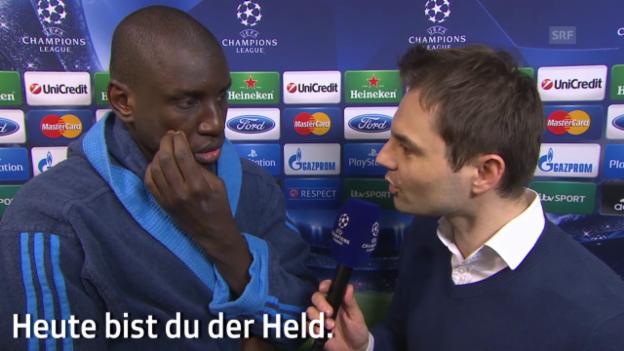 Video «Fussball: CL, Chelsea-PSG, Interview mit Demba Ba» abspielen