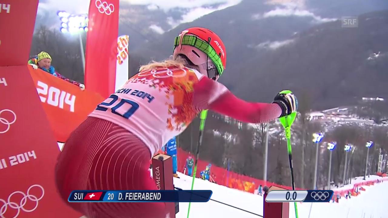 Ski Alpin: Slalom Frauen, 1. Lauf Denise Feierabend (sotschi direkt, 21.2.2014)