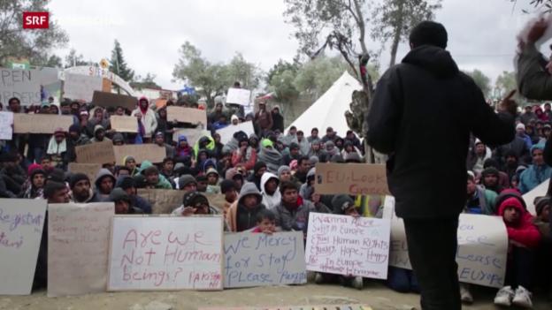 Video «Verzweifelte Flüchtlinge in Griechenland» abspielen