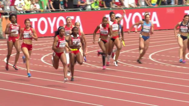 Video «Leichtathletik: WM Peking 2015, 4x100-m-Staffel mit Schweizerinnen» abspielen