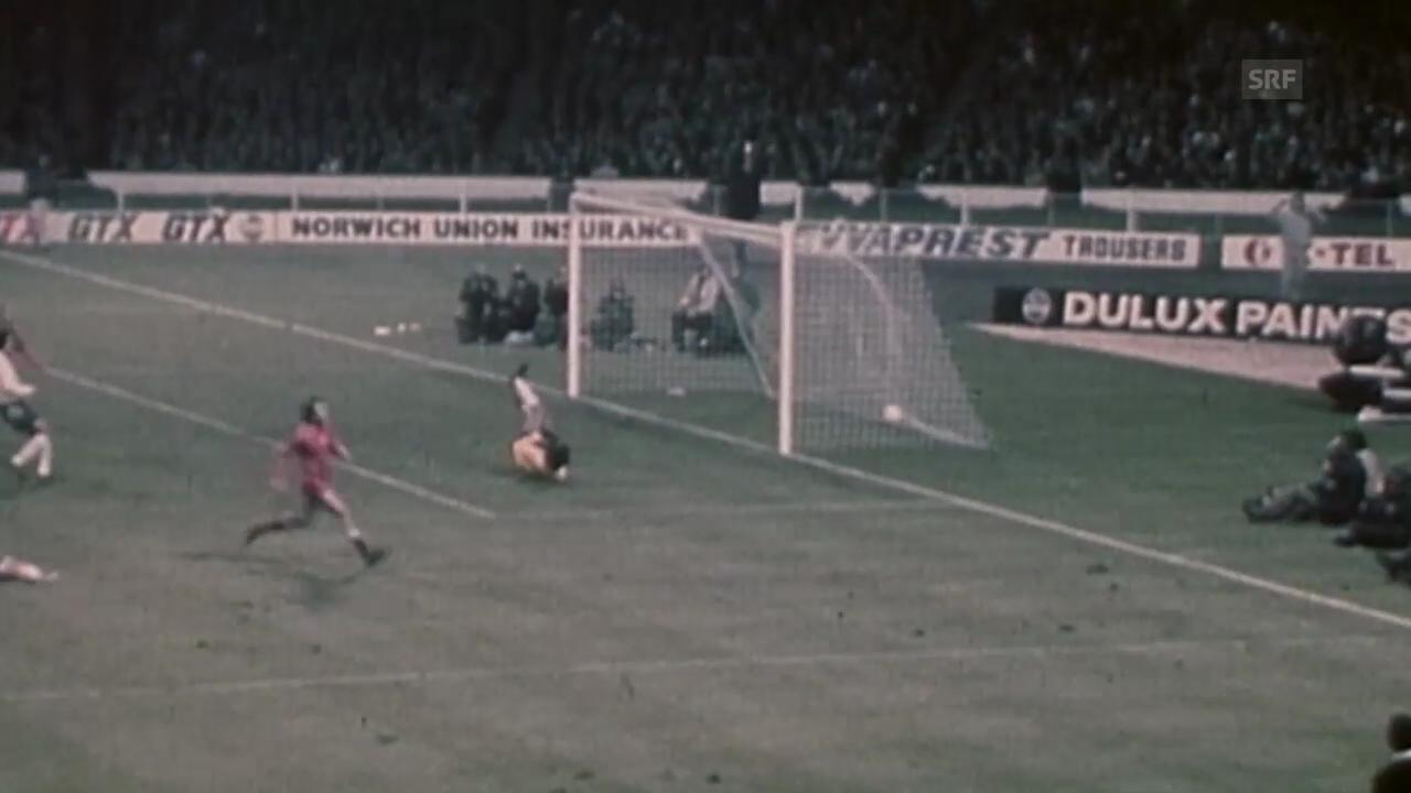Die Tore beim 1:1 zwischen England und Polen 1973