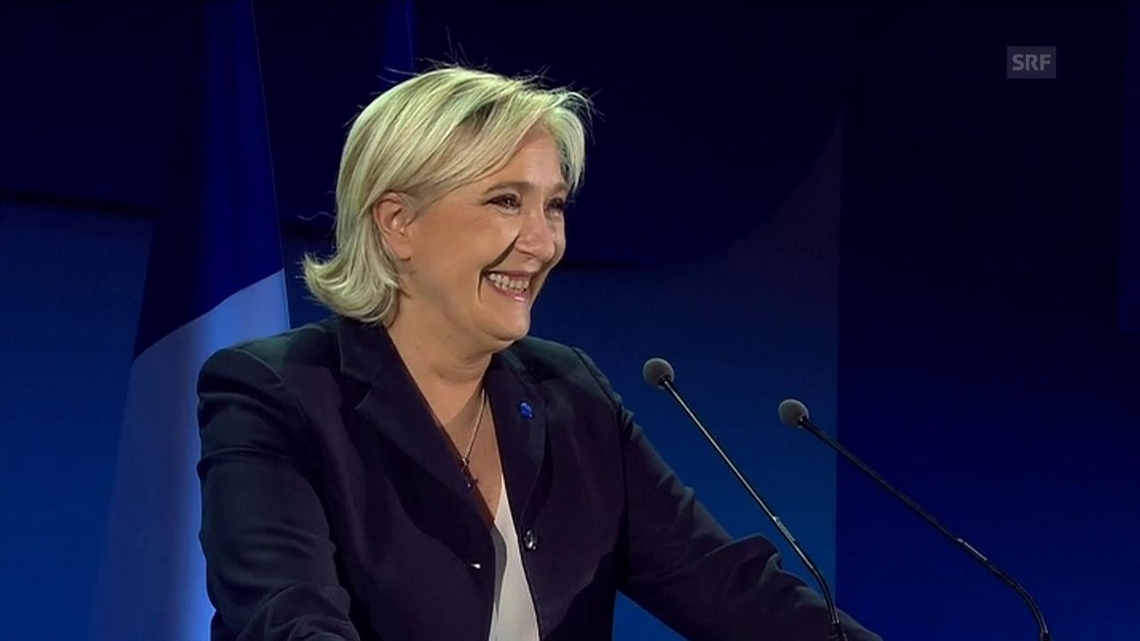 Le Pen bedankt sich bei ihren Wählern (franz. Originalton)
