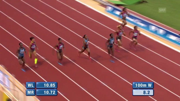 Video «Leichtathletik: Diamond League Monaco, 100m der Frauen» abspielen
