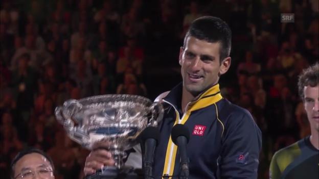 Video «Pokalübergabe und Dankesrede von Djokovic («sportlive»)» abspielen