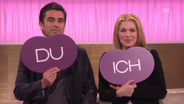Video «Ich oder Du: Mister Schweiz André Roger Weiss und Gattin Bridget» abspielen