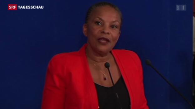 Video «Frankreichs Justizministerin tritt aus Protest zurück» abspielen