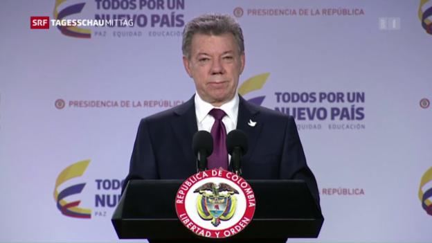 Video «Kolumbiens Präsident hält an Friedensplan fest» abspielen