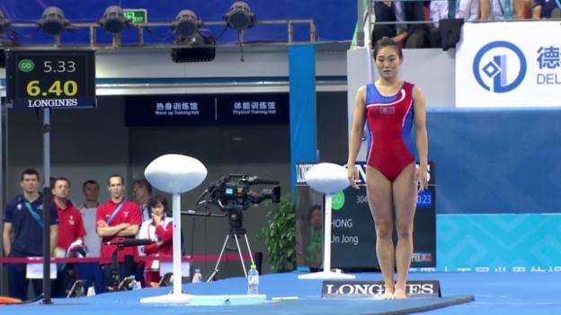 Video «Kunstturnen: WM in Nanning, Sprung-Final, die Sprünge von Hong Un-Jong» abspielen