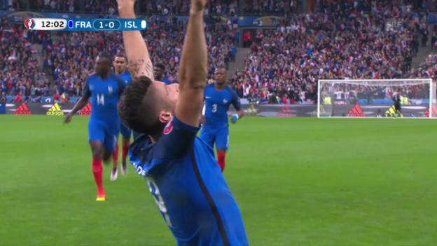 Video «Giroud erwischt Halldorsson zwischen den Beinen» abspielen