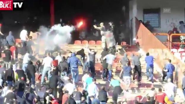 Video «Fussball: Ausschreitungen in Belgrad (SNTV)» abspielen