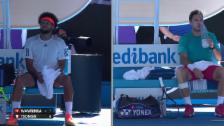Video «Trashtalk im Tennis? Tsonga und Wawrinka diskutieren heftig» abspielen