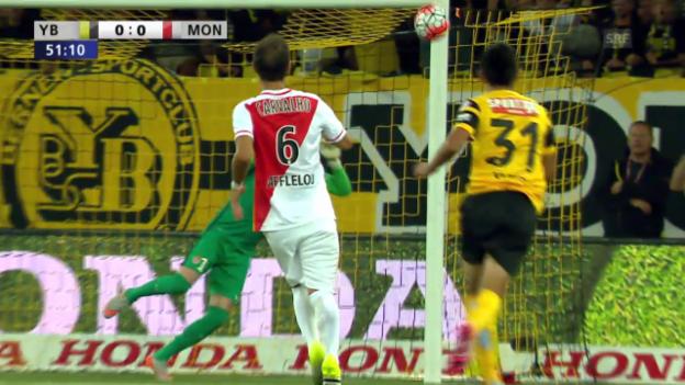 Video «Fussball: Champions-League-Qualifikation, Hinspiel, YB - Monaco, Kubos Pfostenknaller» abspielen