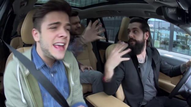 Video «Beifahrer-Karaoke mit Luca Hänni, Michel Birri und Andi Rohrer» abspielen