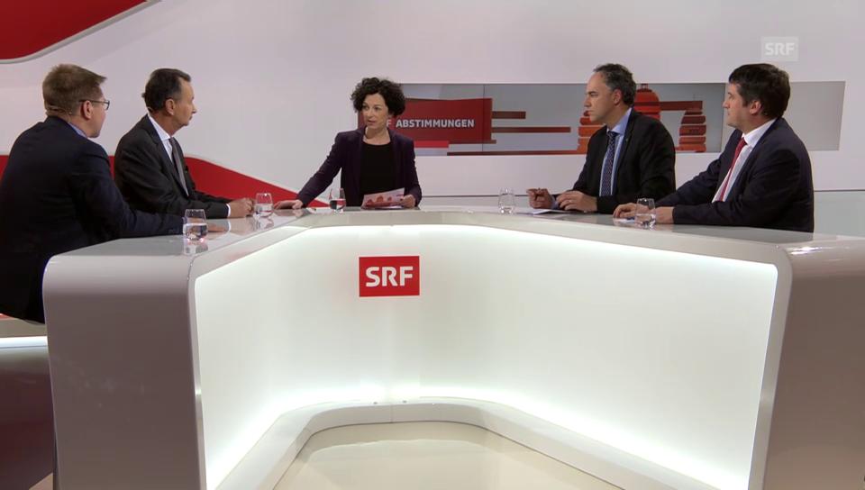 Die Präsidentenrunde mit Brunner, Müller, Darbellay und Levrat