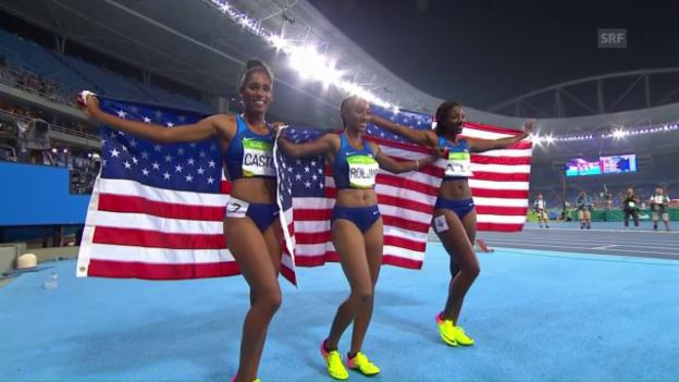 Video «Dreifacher US-Triumph im 100-m-Hürdenfinal» abspielen