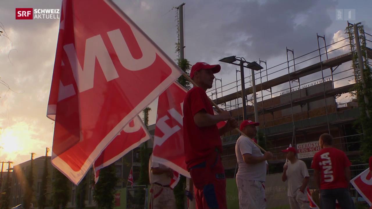 Gewerkschaft blockiert Baustelle in Sursee