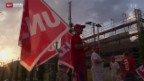 Video «Gewerkschaft blockiert Baustelle in Sursee» abspielen