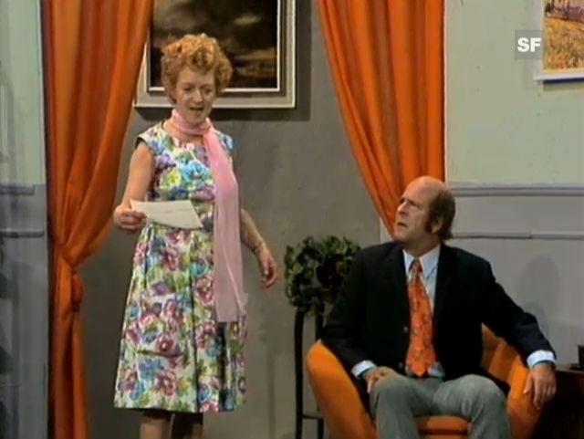 Ausschnitt aus der Theateraufzeichnung «Die Schwindelfiliale» mit Stephanie Glaser. Regie: Franz Matter.