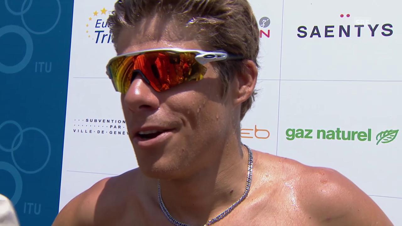 Triathlon: EM in Genf, Siegerinterview mit David Hauss (französisch)