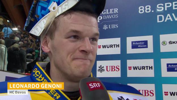 Video «Eishockey: Spengler Cup, Interview Leonardo Genoni» abspielen