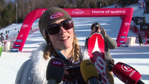 Video «Ski Alpin: Slalom Zagreb, Interview Mikaela Shiffrin» abspielen