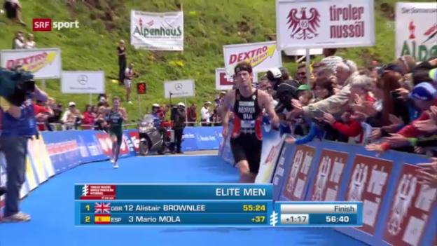 Video «Triathlon: Riederer in Kitzbühel starker Dritter» abspielen