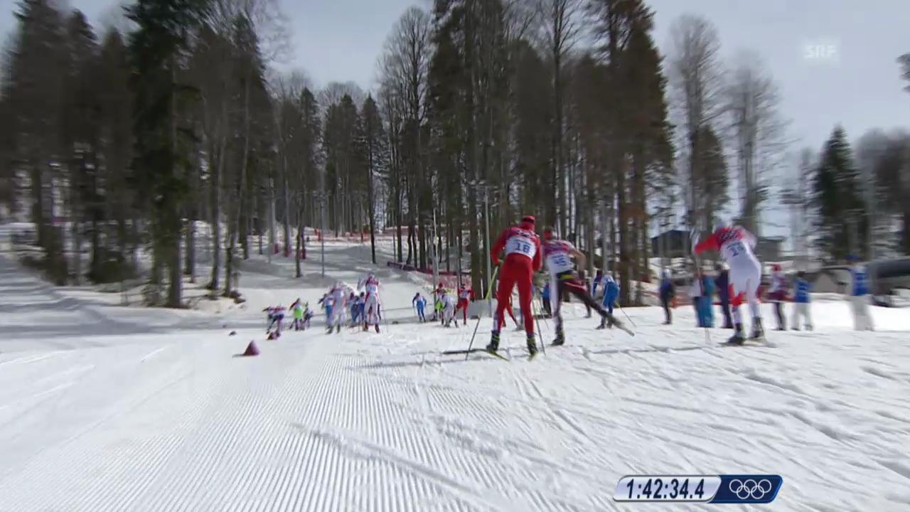 Langlauf: 50 km Skating Männer, Skibruch bei Dario Cologna (sotschi direkt, 23.02.2014)
