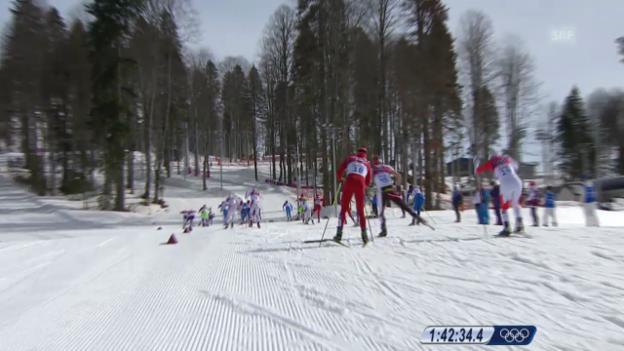 Video «Langlauf: 50 km Skating Männer, Skibruch bei Dario Cologna (sotschi direkt, 23.02.2014)» abspielen