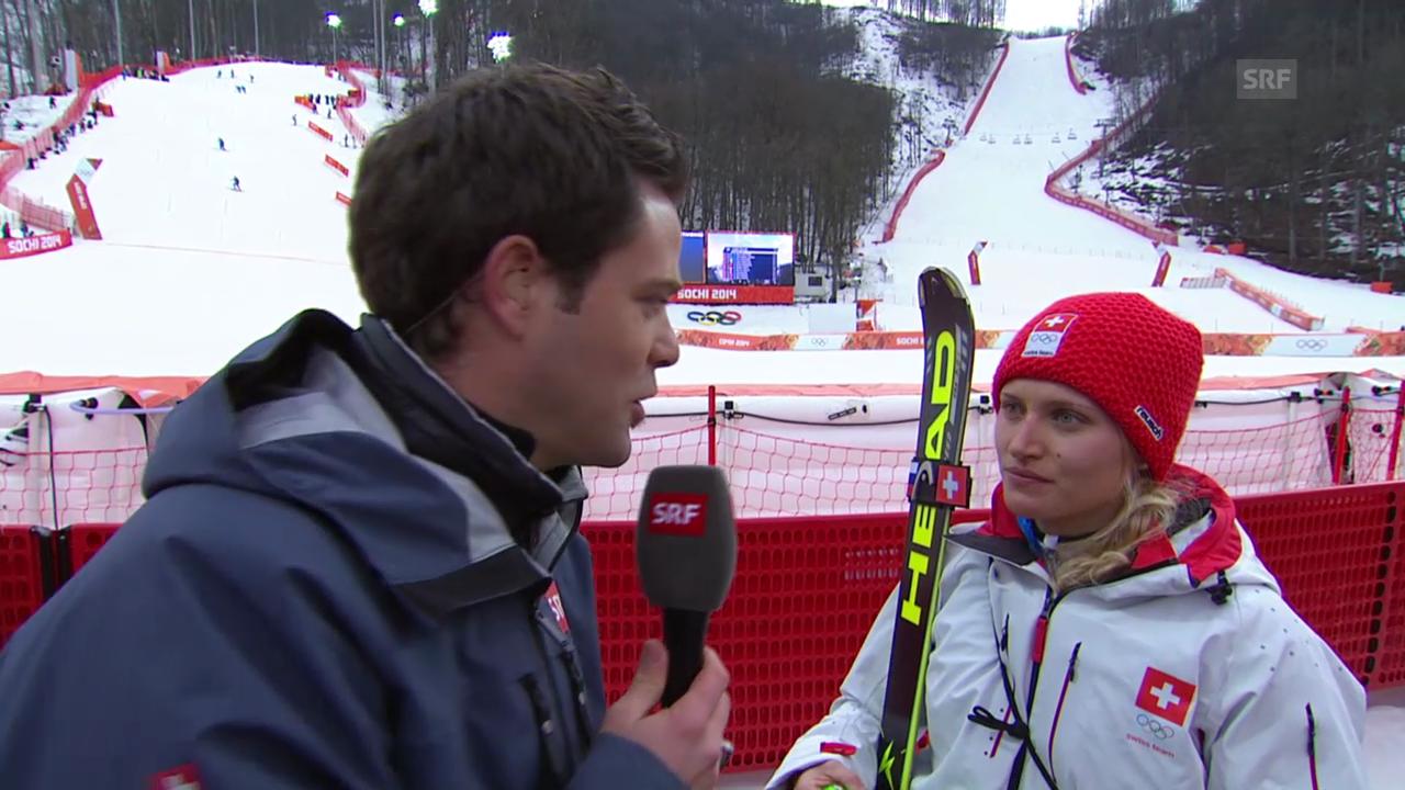 Ski Alpin: Slalom Frauen, Interview mit Denise Feierabend (sotschi direkt, 21.2.2014)