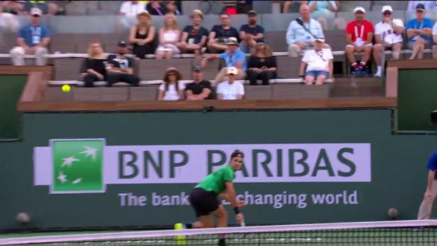 Video «Flinker Federer: Johnson findet keinen Weg vorbei» abspielen