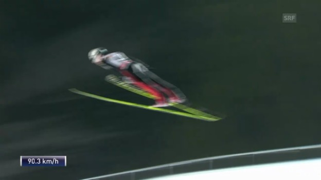 Video «Skispringen: Weltcup in Falun, 2. Sprung Simon Ammann» abspielen