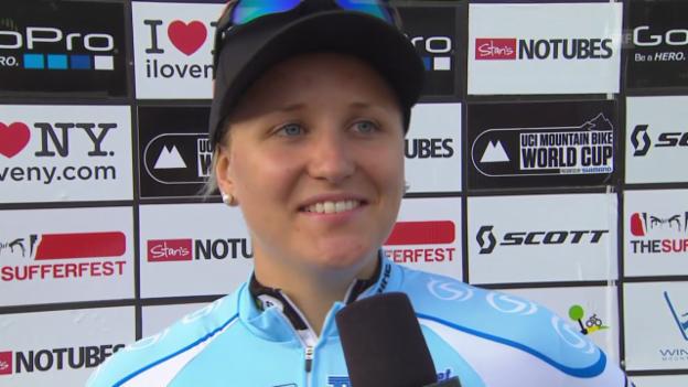 Video «Mountainbike: Kathrin Stirnemann zu ihrem Sieg» abspielen