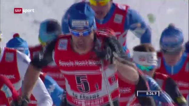 Video «Langlauf: Staffel-Rennen in La Clusaz» abspielen