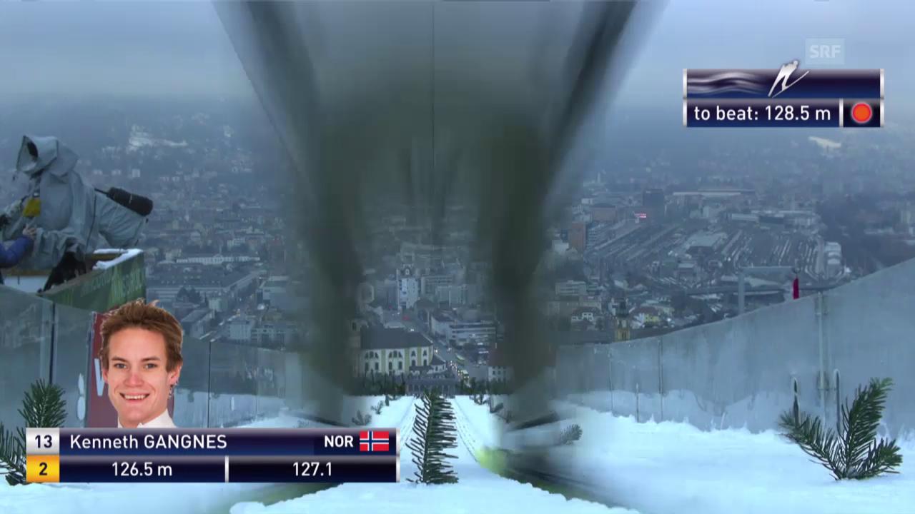 Skispringen: Vierschanzentournee, Innsbruck, 2. Sprung Kenneth Gangnes