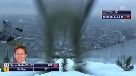 Video «Skispringen: Vierschanzentournee, Innsbruck, 2. Sprung Kenneth Gangnes» abspielen