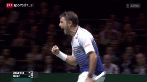 Video «Tennis: ATP-Turnier in Rotterdam, Wawrinka - Raonic» abspielen
