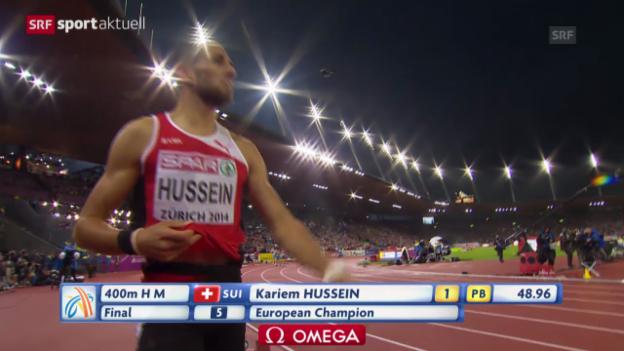 Video «LA-EM: Kariem Hussein holt Gold über die 400 m Hürden» abspielen