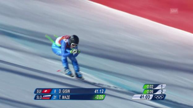 Video «Ski: Abfahrt der Frauen, die Fahrt von Tina Maze (sotschi direkt, 12.02.2014)» abspielen