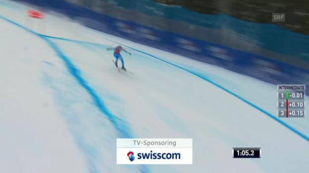 Video «Ski Alpin: Weltcup Lake Louise, Abfahrt, Beinahe-Sturz Maze» abspielen