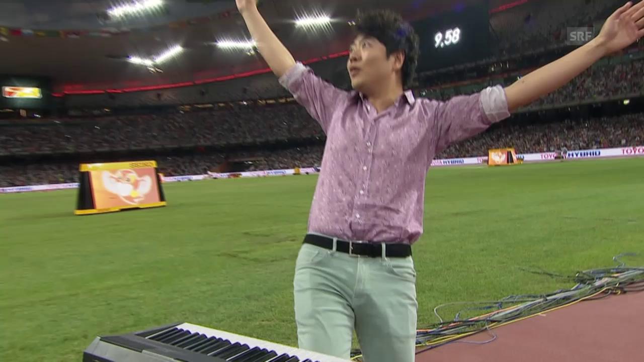 Leichtathletik: WM Peking, Klavierspieler vor 100-m-Final