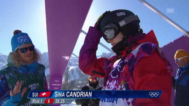 Video «Sotschi: Snowboard Slopestyle Frauen, Qualifikation, 2. Lauf Sina Candrian» abspielen